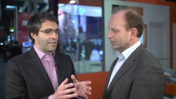Justin van der Lande interviews WeDo Technologies' VP of Marketing during MWC 2015